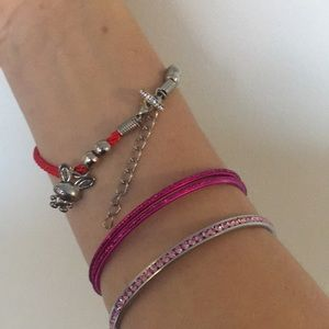 Red Cord Bracelet with Cute Charming